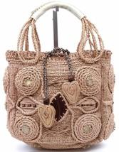 JAMIN PUECH Bag Tote Satchel Raffia Tan Top Handles Leather Wood Brown S... - $142.50