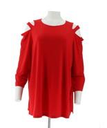 Susan Graver Liquid Knit Set 2 Cold Shoulder Tunics Red Black 1X NEW A30... - $37.60