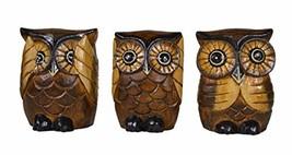Hand Carved Wood Family of 3 See No Evil, Hear No Evil, Speak No Evil Ow... - $18.58