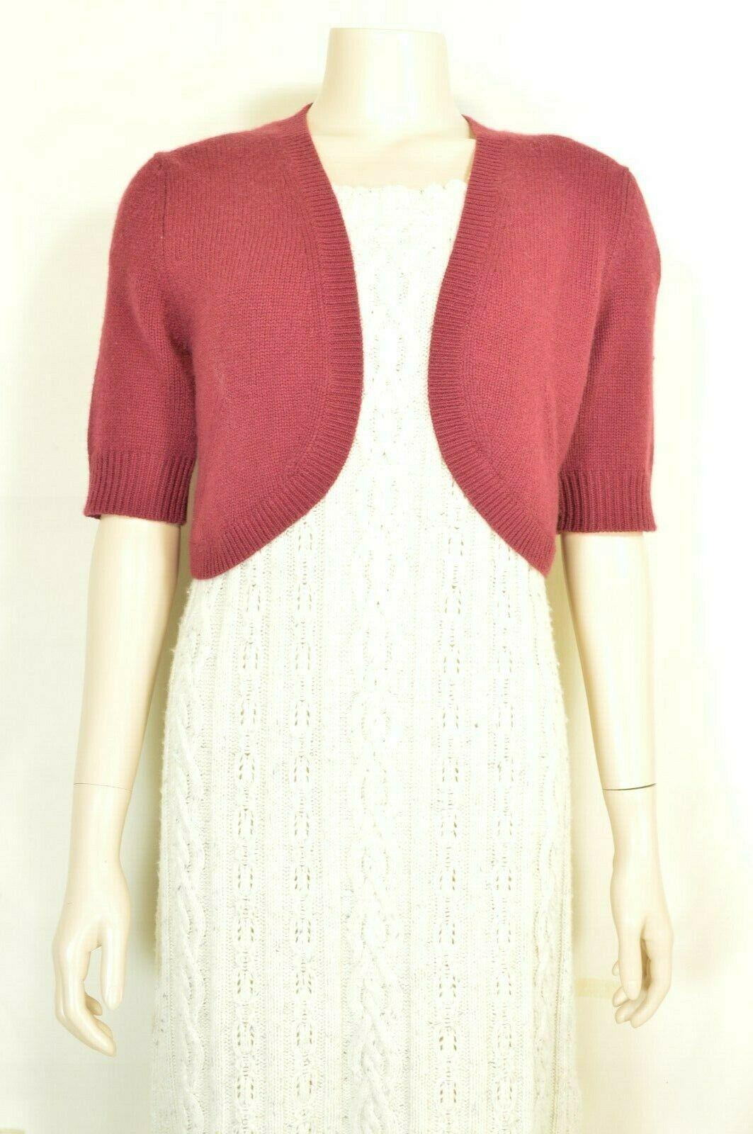 Neiman Marcus sweater M NWT red 100% cashmere shrug bolero cropped $195 new image 10
