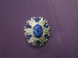 Sarah Coventry Anniversary Faux Lapis Blue Stone Silver Tone Vintage Bro... - $40.10