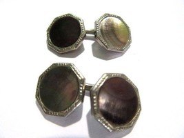 CUFFLINKS FRENCH STYLE ABALONE SHELL VINTAGE ART DECO SIGNED YORK ETCHED... - $26.00