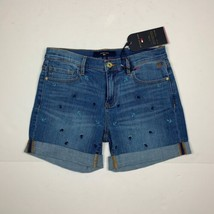 Tommy Hilfiger Jeans Shorts Embroidered Casual Cotton Blue Women Sz 4 NEW NWT - $29.99