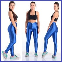 High Waist Satin Sapphire Electric Blue Zip up Skin Tight Legging Pencil Pants image 1