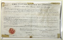 President John Quincy Adams Autographed Signed 1826 Land Grant Document ... - $1,599.95