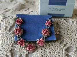 Avon Designer Signed Pink Metal Roses Bracelet - $14.54