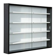Display Cabinet Black Collectibles Models Wall Mount Shelves Glass Doors... - $88.01
