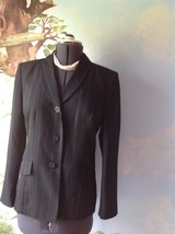 Anne Klein Suits Long Sleeve Blue Pinstripe Suit Jacket Blazer SZ 10 - $24.74
