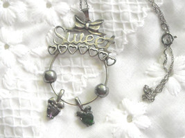 Vintage AVON Sweetheart Charm Necklace Sterling Silver Two Birthstone Ch... - $24.95