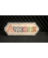 Wooden Amen with Teddy Bear approx 9 1/2 inches length  - $12.86