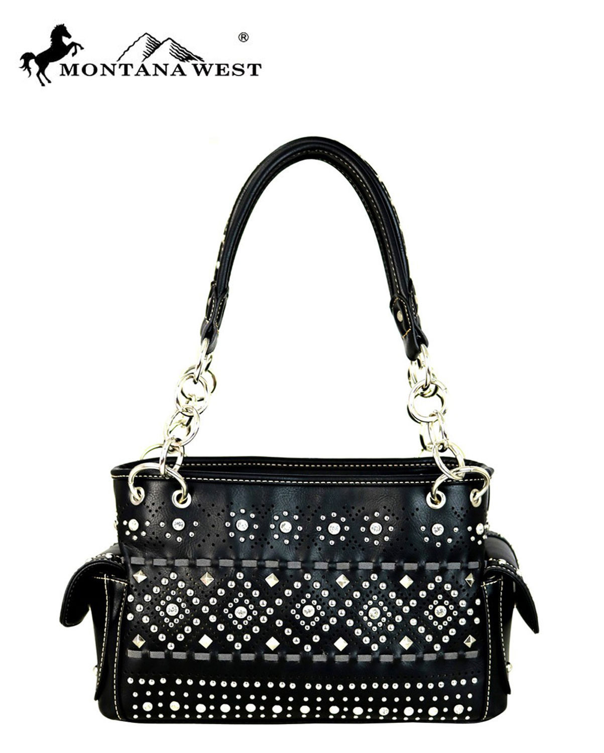 Bling Rhinestone Studded Chain Handle Bag Shoulder Purse Montana West Black