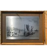 Vintage Stainless Steel Art Print Etching Village of Leigh Southend Engl... - $14.01