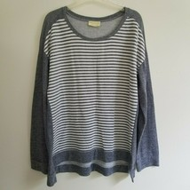 Bobbie Brooks 1X Top Gray White Stripe Front Solid Back LS Sweater Knit K25 - $20.00