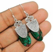 Natural Copper Malachite 925 Sterling Silver Earrings Jewelry IC8-4 - $32.66
