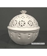 Hartley Green Leeds Pottery Pierced Round Lidded Trinket Box - $10.00