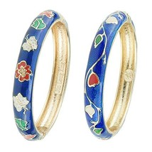UJOY Cloisonne Bracelet Butterfly Gold Hinged Indian Bangles Flower Enam... - $26.38
