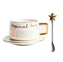 White Gold Tropical Life Mug Ceramic Coffee Milk Tea Cup + Saucer + Star... - $36.95