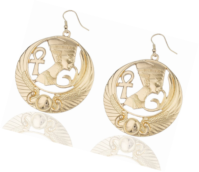 Primary image for Goldtone Embedded Nefertiti, Ankh Cross and Wings Design Dangle Earrings