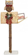 52 in Pre Lit Burlap Owl Mailbox Home Holiday Christmas Outdoor Yard Dec... - $96.01