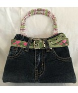 Vtg Levi Strauss & Co Denim Purse Camo Belt Authentic Beaded Handles Buc... - $49.49