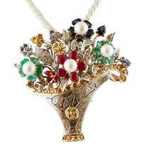 Diamonds, Rubies, Emeralds, Sapphires, Pearls, Flower Basket Brooch/Pendant - $4,400.00