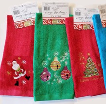 CHRISTMAS FINGERTIP TOWEL SET 3pc, Embroidered Holiday Towels, Santa Red Green