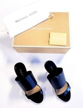 Michael Kors Suzanne Open Toe Slide Heeled Sandals Black Leather Size 6.5 EU 37 - $118.74