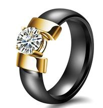 Trendy Ceramic Stainless Steel Prong 1ct Cubic Zirconia Solitaire  Wedding Ring image 4
