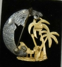Vintage Ultra Craft Gold & Silver Tone Moon Palm Trees, & Music pin Brooch - $12.86