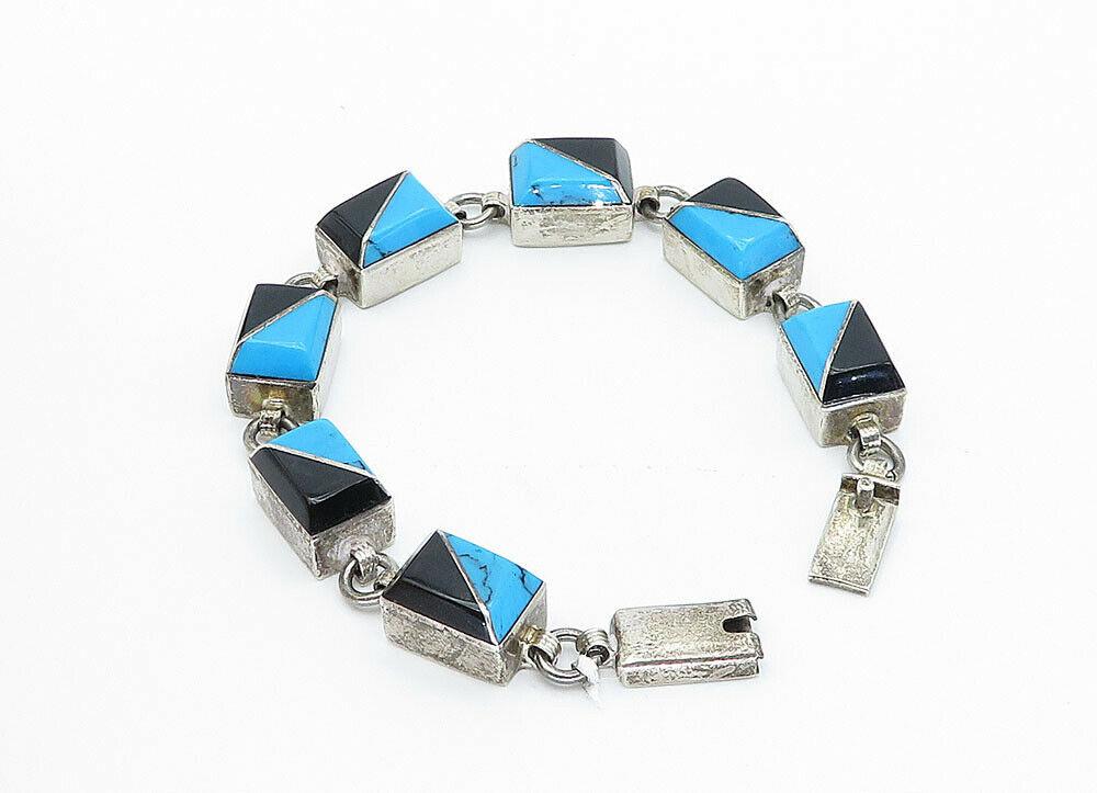 MEXICO 925 Silver - Vintage Turquoise & Black Onyx Chain Bracelet - B5939
