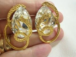 J Jansen Clear Crystal Big Teardrop n Gold Clip Earring Handcraft Coutur... - $39.55