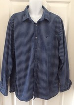 American Eagle Mens Button Up Shirt SZ XXL Long Sleeve Vintage Fit Strip... - $13.96