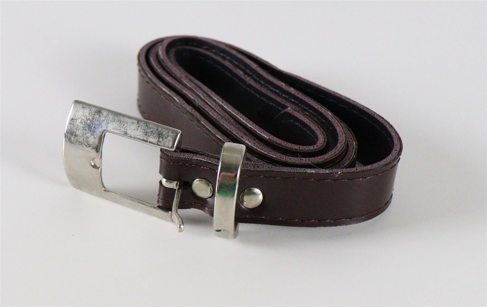 Womens Brown Belt with Silver Belt Buckle Size 14