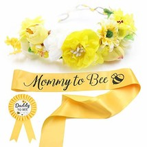 Baby Shower Mom to Bee Sash & Flower Crown & Daddy to Bee Pin Kit - - $28.05