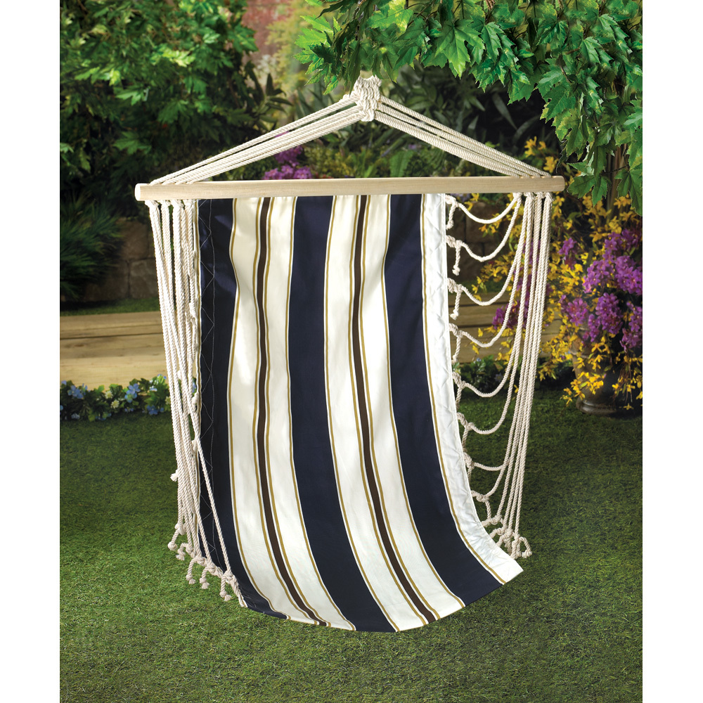 Hammock Seat, Cotton Single Hanging Chairs Outdoor With Navy Blue Stripes