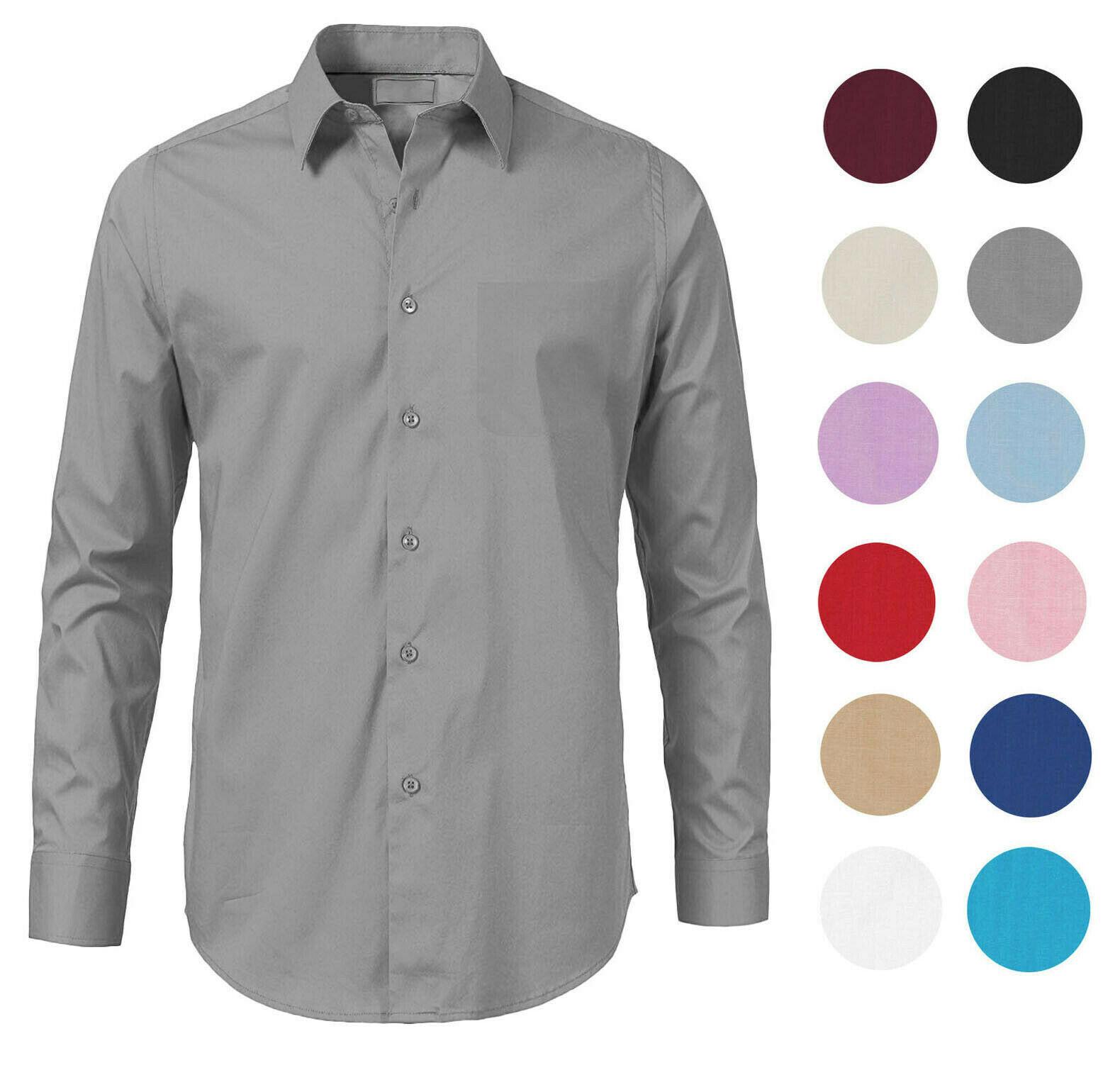 Men's Solid Long Sleeve Formal Button Up Standard Barrel Cuff Dress Shirt