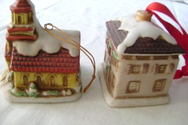 Lefton Holiday  Colonial Village Church & House Ornaments - $15.00