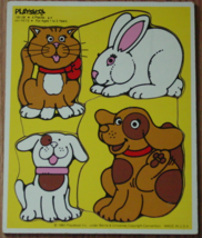 Puzzle My Pets 1982 Playskool #18008 4 Pieces Made In Usa Complete - $8.00