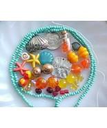 Beach Bead Mix Lot Blue Turquoise Starfish Mermaid Green Spacers Jewelry Making - $6.55