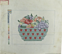 """Vintage 1970's Hand Painted Needlepoint Paternayan """"2448"""" Fruit In Love ... - $36.04"""