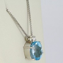 18K WHITE GOLD NECKLACE, PENDANT WITH OVAL BLUE TOPAZ & DIAMOND, VENETIAN CHAIN image 2