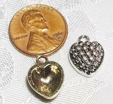 HEART BASKET WEAVE DESIGN FINE PEWTER PENDANT CHARM - 11mm L x 15mm W x 5mm D image 2