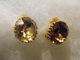 Vintage Large Yellow Glass Gem Pair Clip Earrings Costume Fashion Jewelry - $10.66