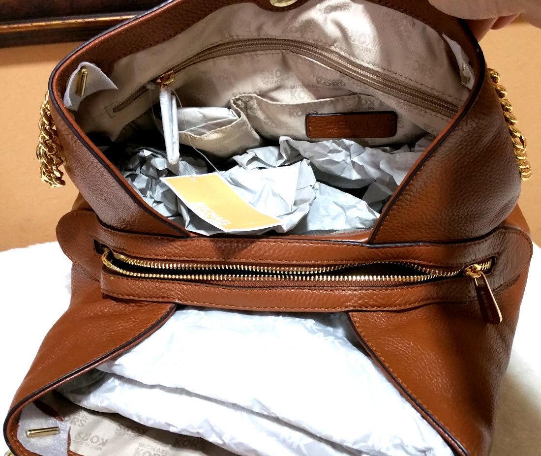 293ec5c50bb3 MICHAEL KORS jet set chain SHOULDER BAG leather purse stud Raven Brown NWT