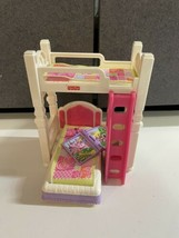 Fisher Price Loving Family Dollhouse kids room BUNK BEDS Bed Fold Out Desk book - $28.71