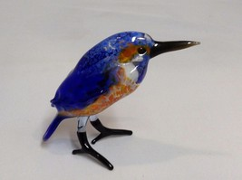 Hand Blown Glass Bird made in USA Blue Kingfisher - $98.99