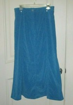 Denim & Co Blue Long Modest Shirt No Slit Sz L New - $17.42