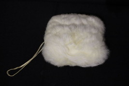 Vintage Genuine White RABBIT Fur Satin Lined Women's Small Hand Warmer M... - $49.99