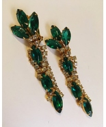 Green Stone Earrings Signed Carnegie Clear Rhinestones Gold Metal Clip-o... - $175.00