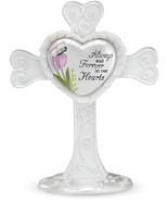 Always And Forever in Our Hearts Cross Sympathy Memorial White Tulip But... - $15.83
